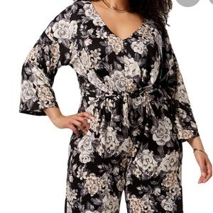 NY Collection Cropped Floral Print Jumpsuit 1X